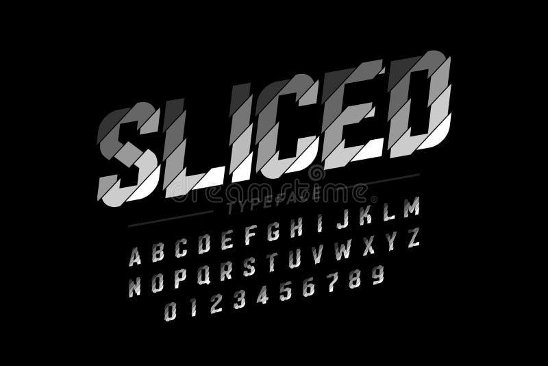 Sliced font design. Alphabet letters and numbers stock illustration