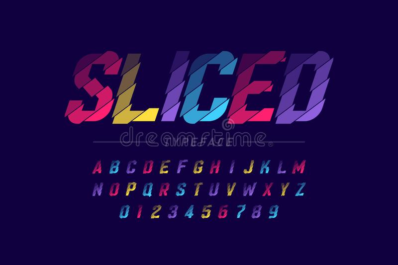 Sliced font design. Alphabet letters and numbers royalty free illustration