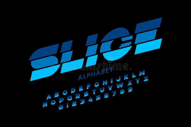 Sliced font. Modern sliced font design, alphabet letters and numbers vector illustration