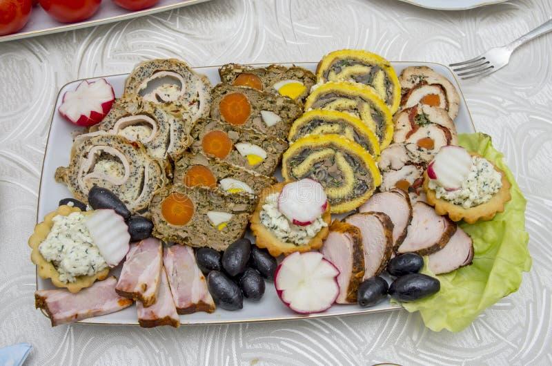 Sliced food arrangement stock image