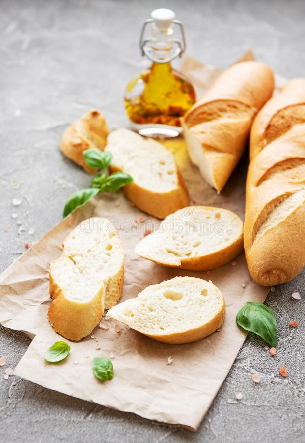 Sliced fresh crusty baguette royalty free stock photos