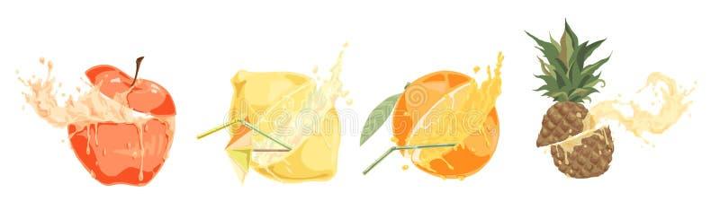 Sliced fresh fruits with straws, tasty drink, ripe apple, lemon, orange and pineapple, sweet tropical cocktails set vector illustration
