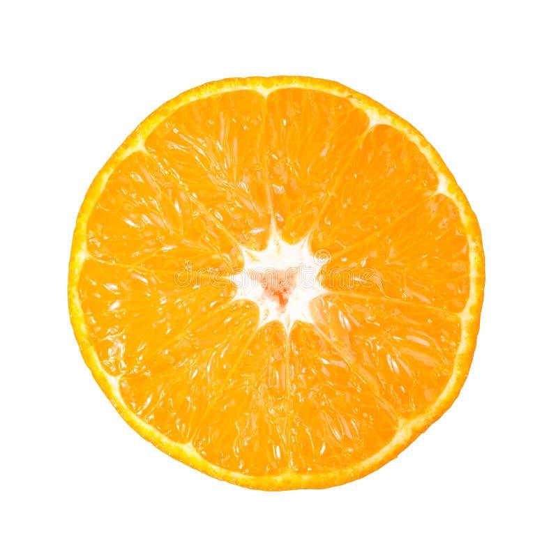 Sliced fresh orange isolated on white stock images