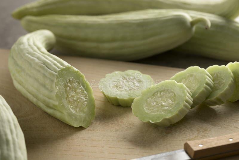 Sliced fresh raw Armenian cucumber. Close up royalty free stock photo