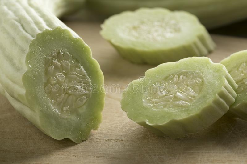Sliced fresh raw Armenian cucumber. Close up royalty free stock images
