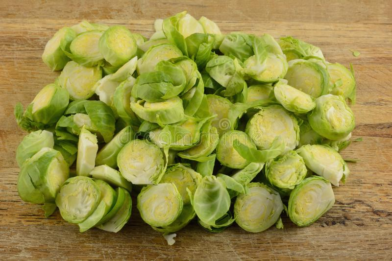 Sliced fresh raw brussel sprouts stock images