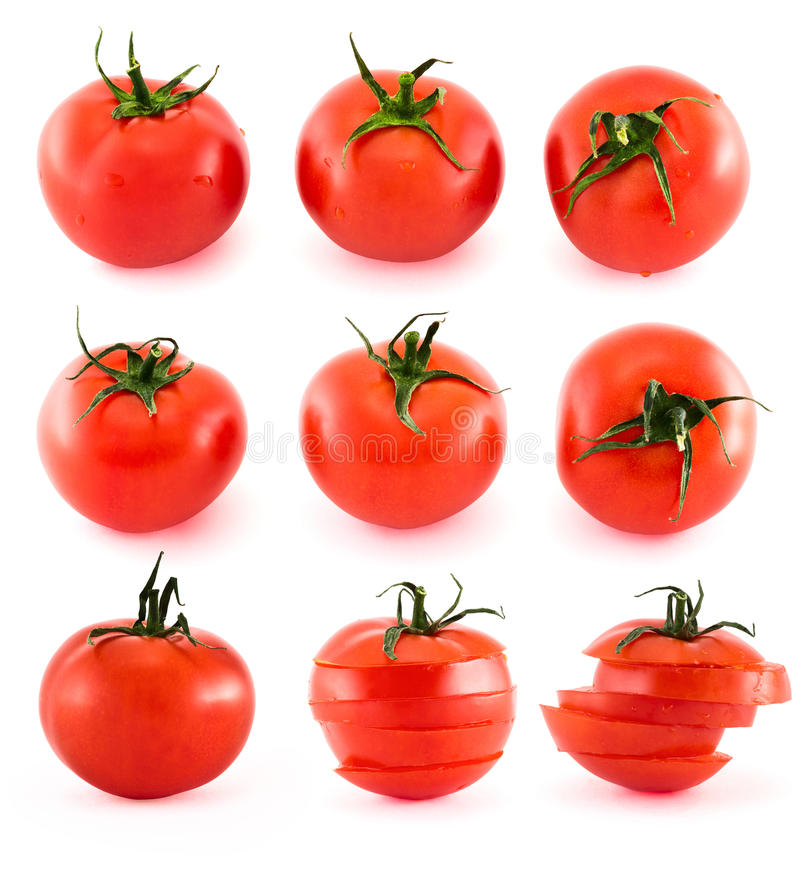 Sliced Fresh Tomatoes Isolated Over White Royalty Free Stock Image