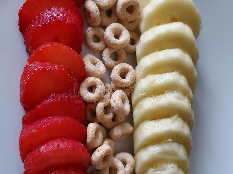 Sliced Fruit and Cereal stock image