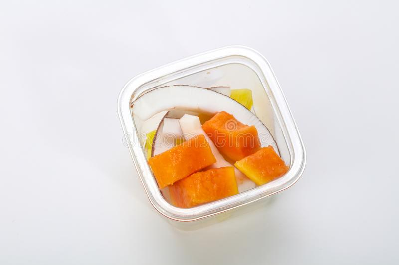 Sliced fruit mix in the box stock image