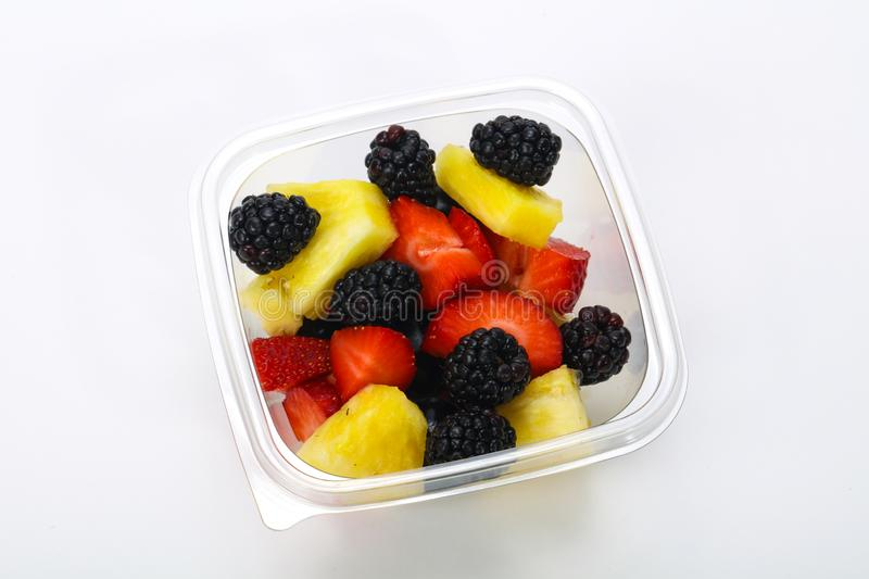 Sliced fruit mix in the box stock images
