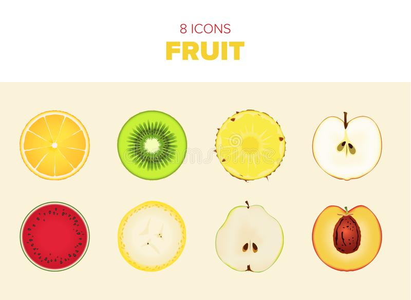 Sliced fruit vectors. 8 different vectors of fruit sliced right through the middle. Delicious and colourful stock illustration