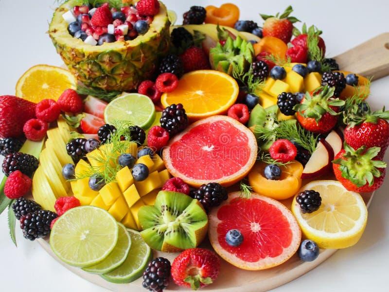 Sliced Fruits on Tray stock photos