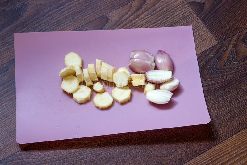 Sliced garlic and onion stock photography