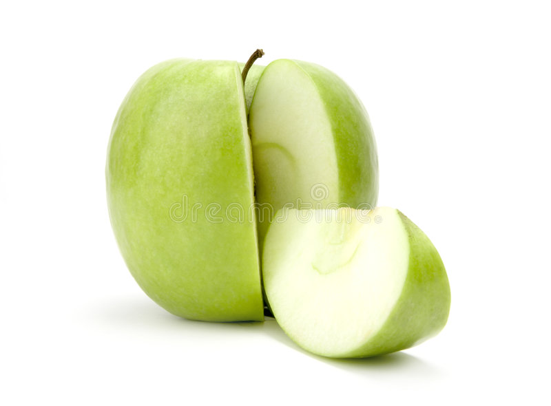 Sliced green apple stock images