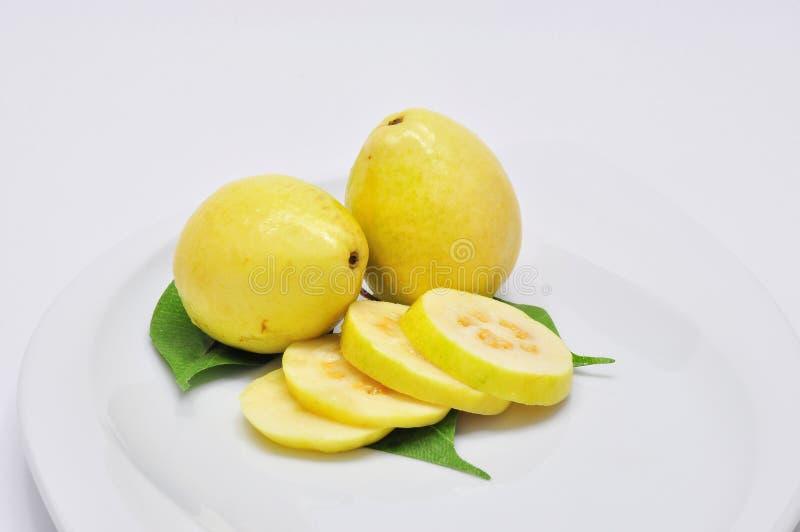 Sliced Guava On A Plate stock photos