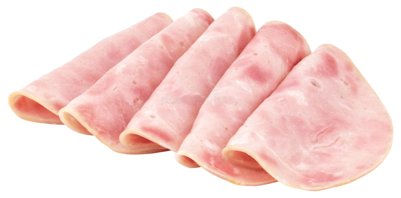 Sliced ham on white background. Pork ham sliced on white background.  royalty free stock image
