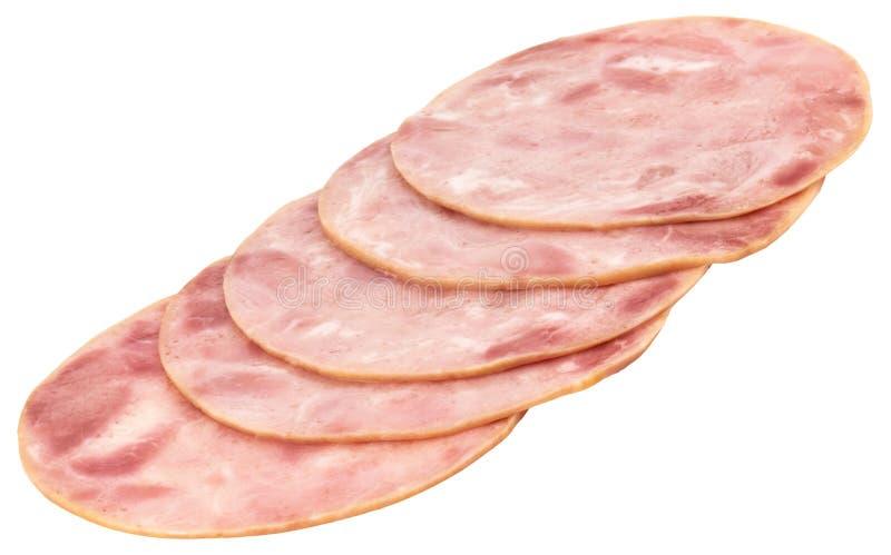 Sliced ham on white background. Pork ham sliced on white background.  stock photo