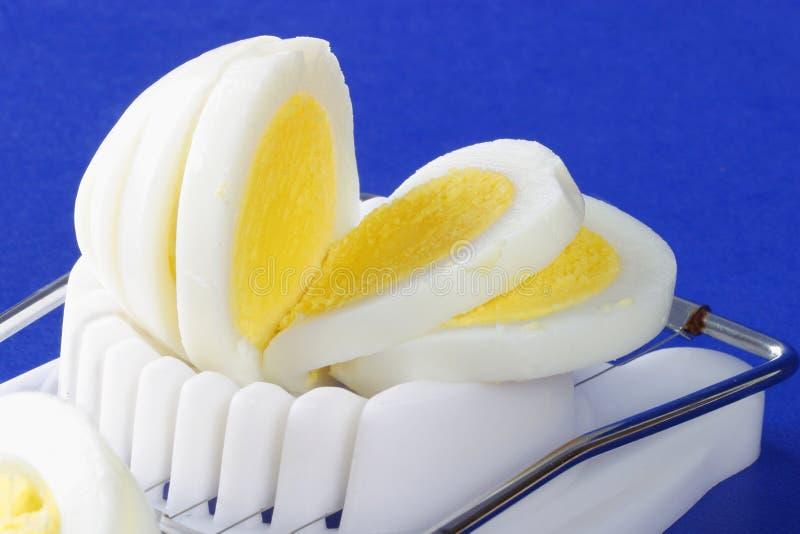 Sliced hard-boiled egg in egg slicer. A freshly cooked sliced hard-boiled egg in an old fashioned egg slicer, Sliced into sections, blue contrasting background stock photos