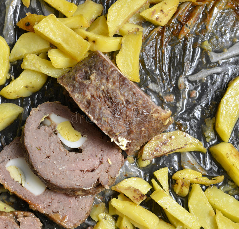 sliced homemade meat loaf made from lean ground beef. stock photos