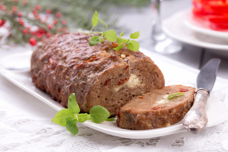 Sliced homemade meatloaf. royalty free stock photos