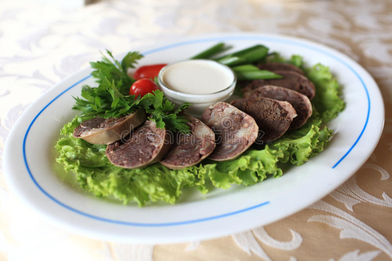 Sliced of horse meat stock photos
