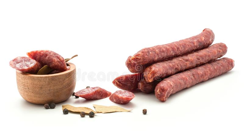 Hungarian dry sausage pepperoni isolated on white stock image