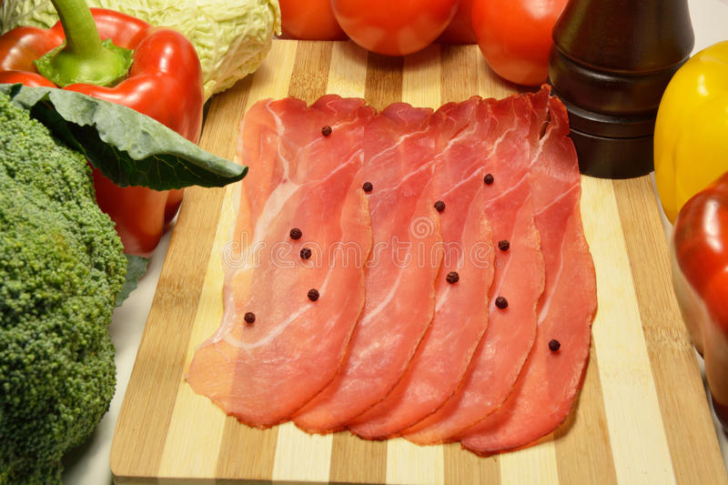 Sliced Italian speck royalty free stock images