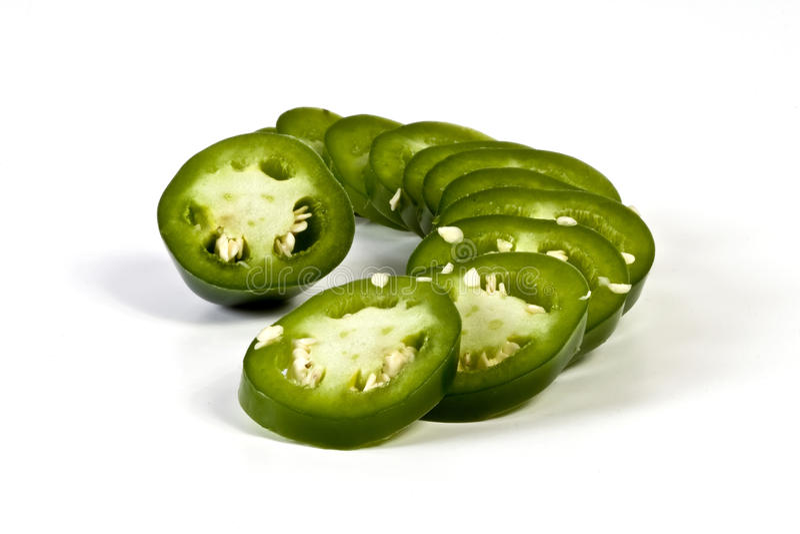 Sliced Jalapeno Pepper. On white background stock images
