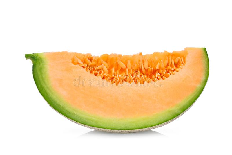 Sliced japanese melons, green melon or cantaloupe melon stock image