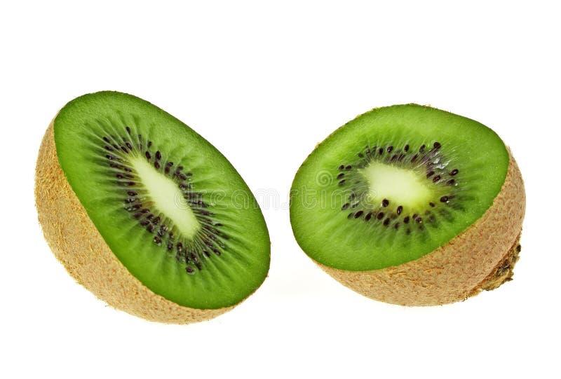 Sliced Kiwi fruit isolated on white background. Front view stock images