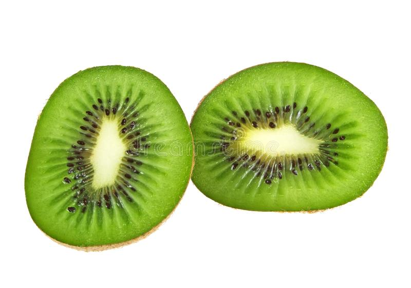 Sliced Kiwi fruit isolated on white background. Front view royalty free stock photos