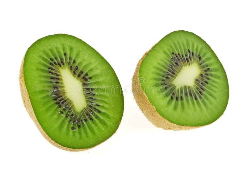 Sliced Kiwi fruit isolated on white background. Front view royalty free stock images