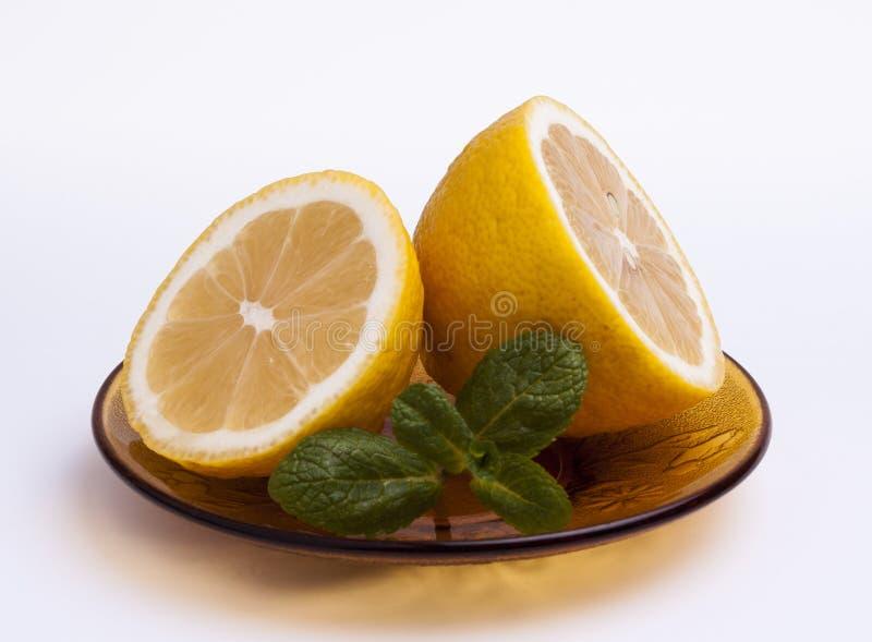 Sliced lemon with mint stock photo