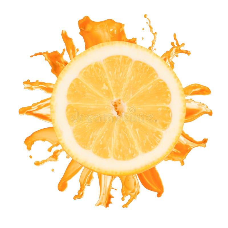 Download Sliced Lemon Splash With Orange Juice Isolated Stock Photo - Image: 23898672