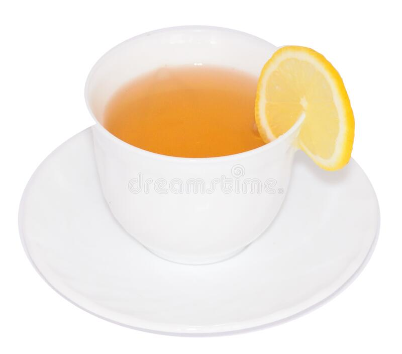 Sliced Lemon on White Ceramic Cup With Tea royalty free stock images