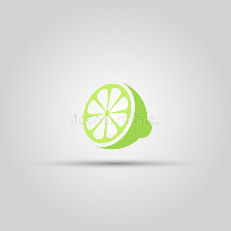 Sliced lime isolated vector colored icon. Or sign stock illustration
