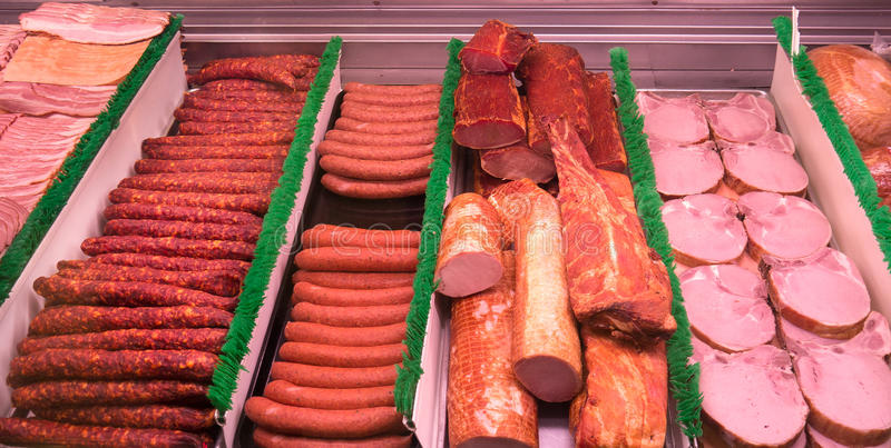 sliced Meat at a deli counter royalty free stock photo