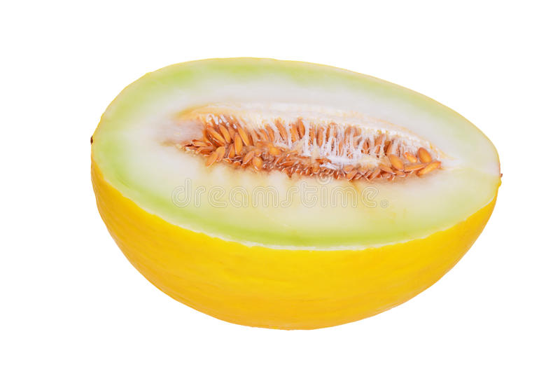 Sliced melon isolated on white. Background royalty free stock image