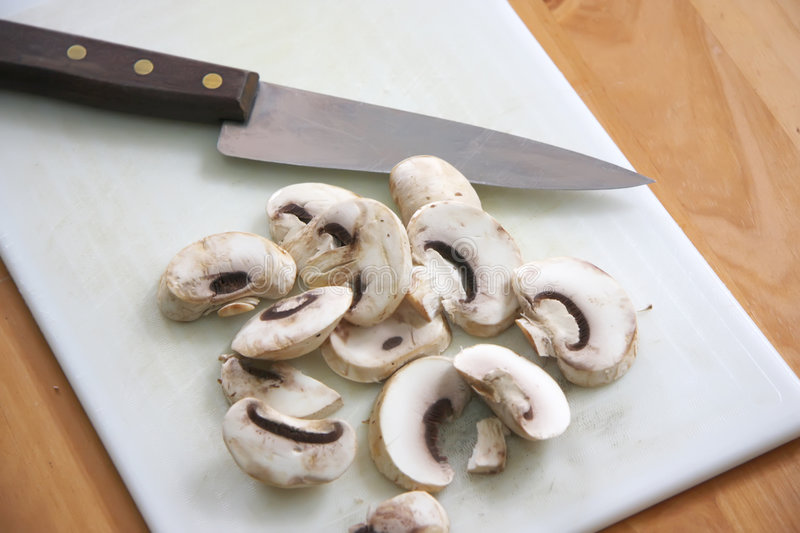 Download Sliced mushrooms stock photo. Image of wooden, knife, produce - 3891344