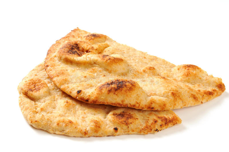 Sliced Naan Bread. Slices of golden Naan bread on a white background with natural drop shadow royalty free stock images