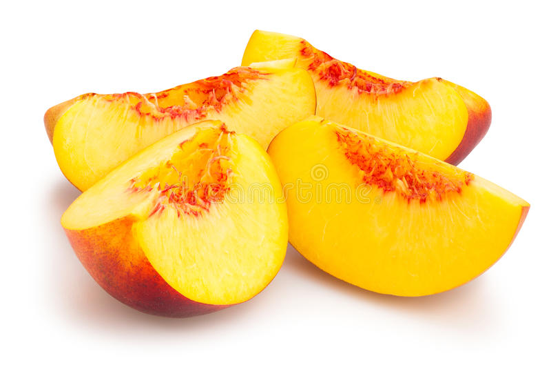 Sliced nectarine stock images
