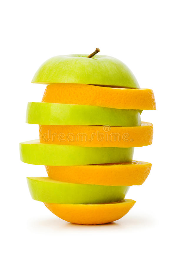 Sliced Orange And Apple Stock Photo