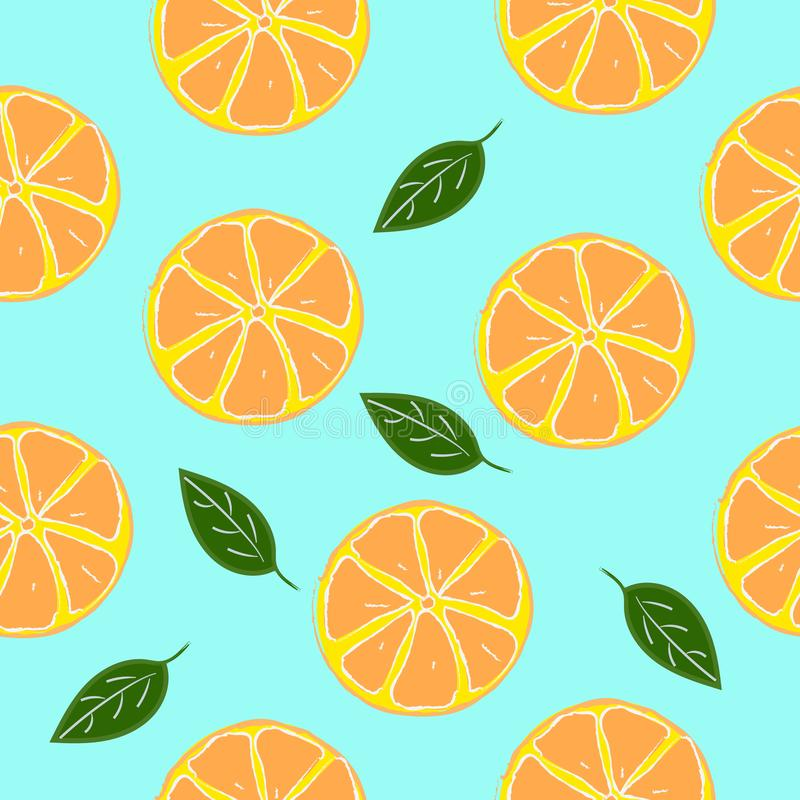 Sliced oranges seamless pattern with leaves stock illustration