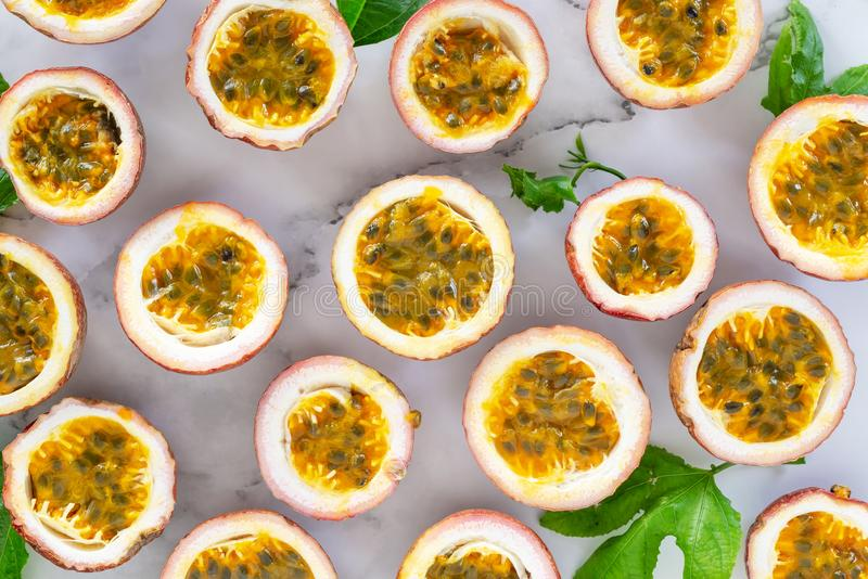 Sliced passion fruit food and drink background. stock photography