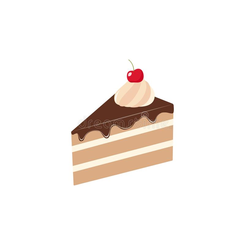 Sliced piece of chocolate cake clipart cartoon. Piece of cake with chocolate topping and cherry. royalty free illustration