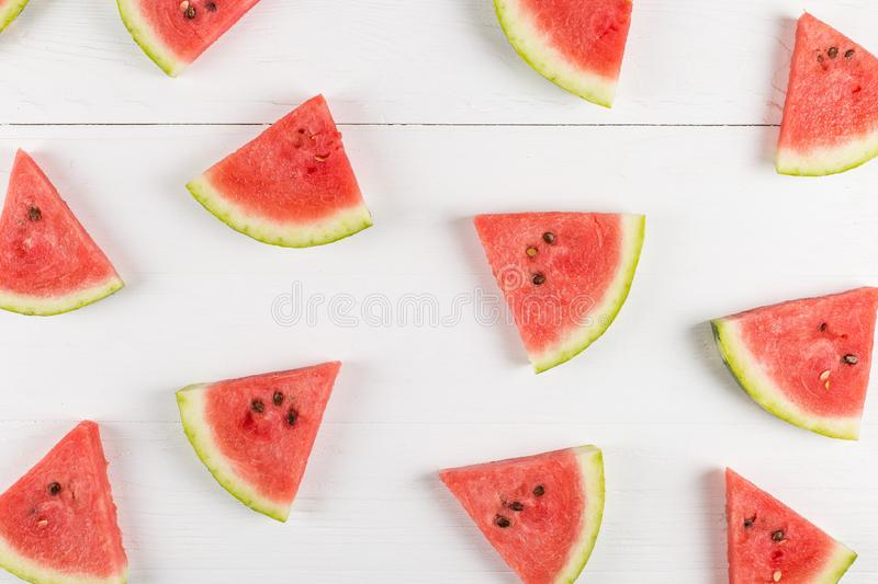Sliced pieces of watermelon pattern, chilled with ice, refreshing summer berry stock photos