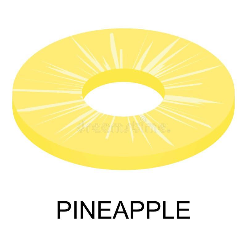 Sliced pineapple icon, isometric style stock illustration