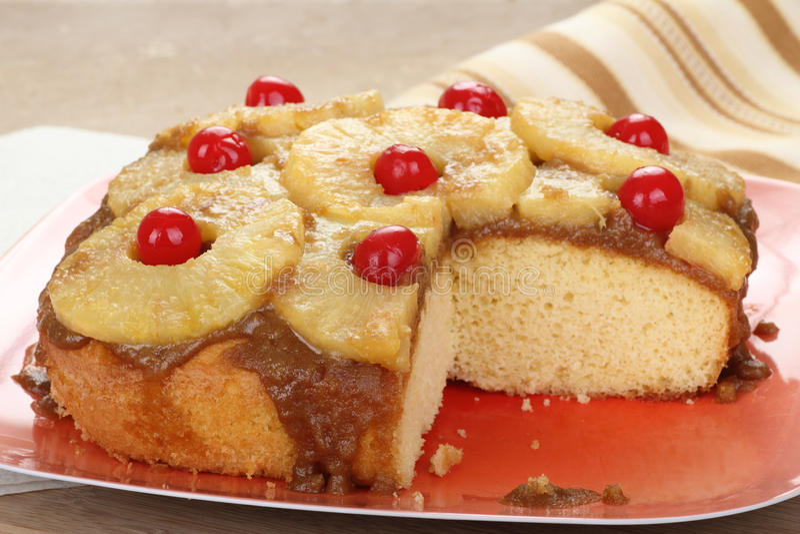 Sliced Pineapple Upside Down Cake stock photo