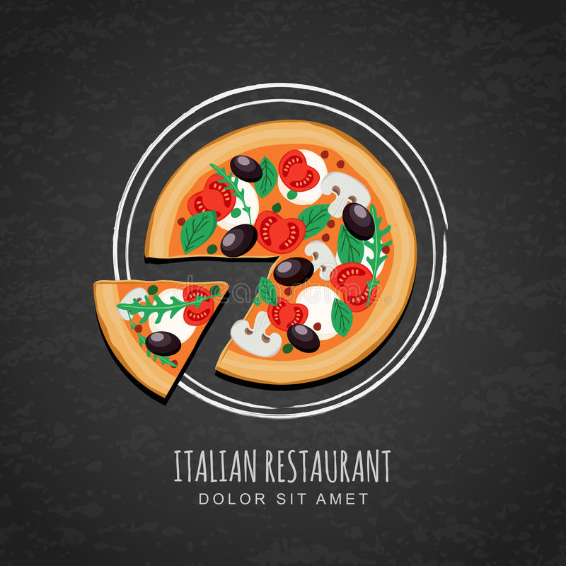 Sliced pizza and watercolor sketch of plate on grunge black chalkboard background. vector illustration