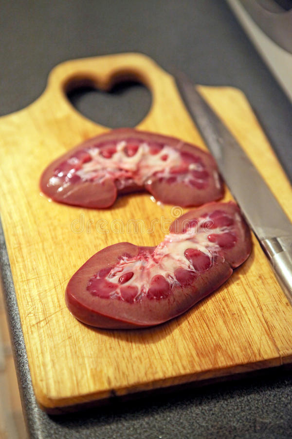 Sliced Pork Kidney Stock Images